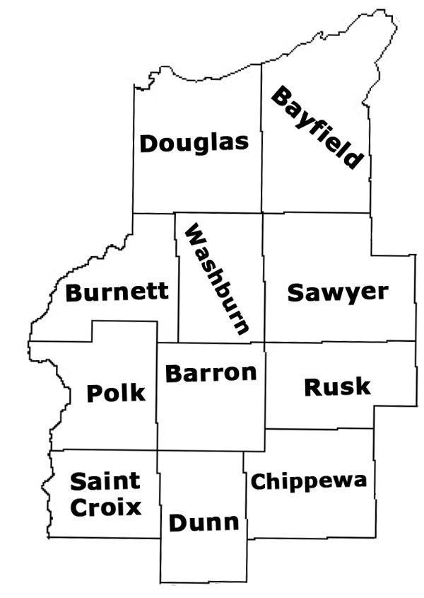 Northwest Wisconsin County Map